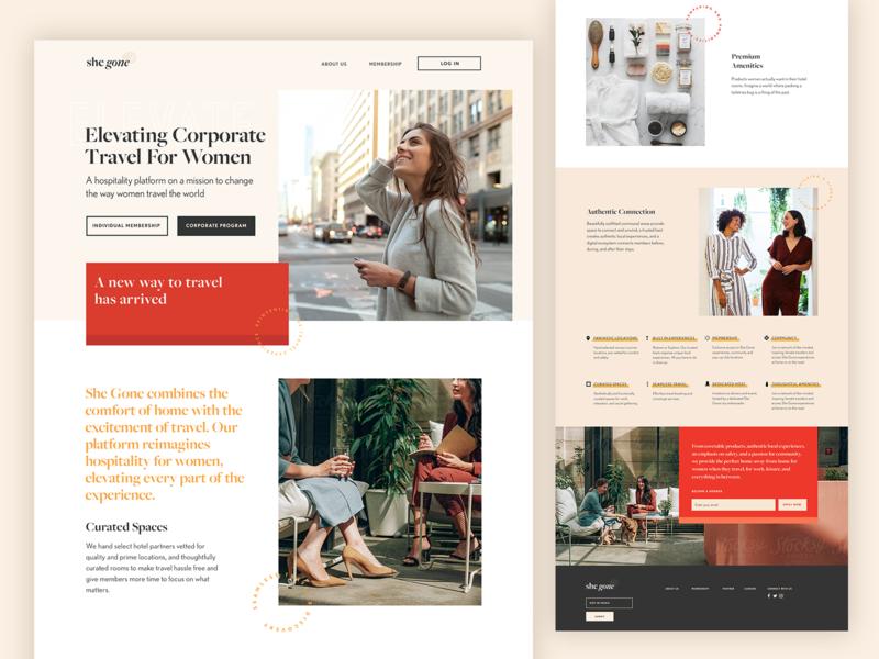 She Gone Website logo startup female luxury serif membership branding website travel