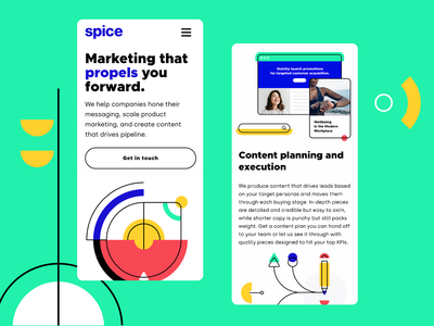 Spice Marketing Mobile content marketing branding shapes bright green responsive clean illustration illustration website mobile design saas