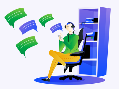 Chat Illustration chat app chatbot clean character green purple technology messaging chat illustration saas