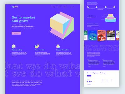 Website Concept Marketing Company infographic wordmark purple icon logo bright spice marketing branding website design saas