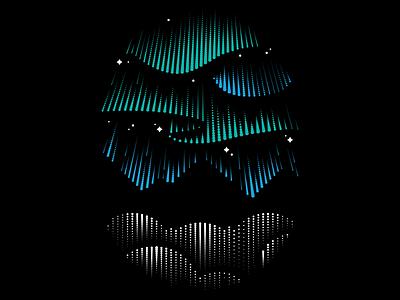 Rubrik Northern Lights Illustration clean gradient dots northern lights tshirt saas illustration