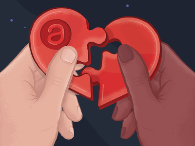 Sales kick off heart puzzle heart puzzle sales kick off branding illustration saas