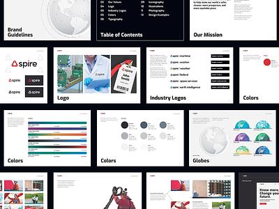 Spire Brand Guide saas global satellites gradients globes brand identity brand guide guide branding