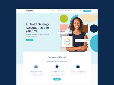 First Dollar Website Design ui photography shapes clean saas branding heath savings healthcare website design