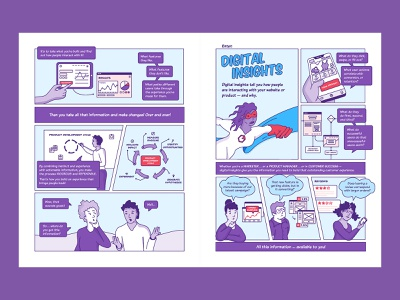Heap Comic Book Spread saas analytics insights digital superhero content marketing comic spread comic book