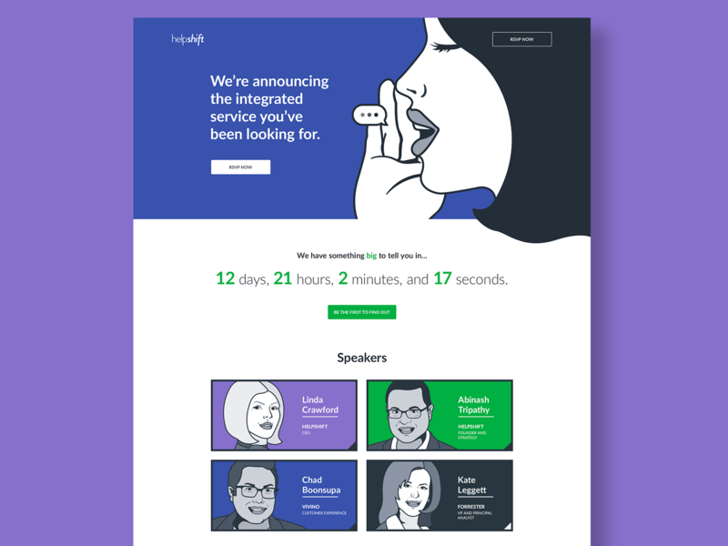 Helpshift Announcement Website count down people illustration website event speakers messaging saas launch announcement landing page