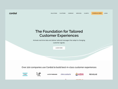 Cordial Homepage Design