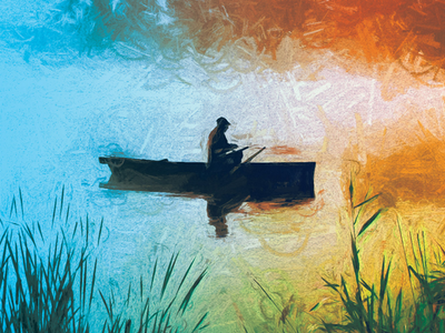 Old fisherman on the lake fishing cover design design illustration