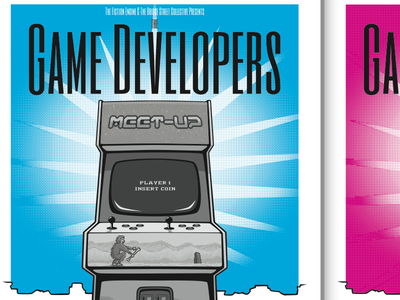 Game developers meetup poster arcade machine illustrator vector