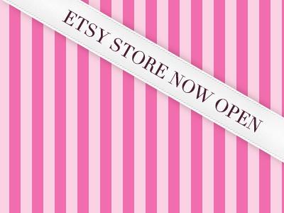 Greta Clare Etsy store banner banner ribbon white pink