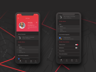 Setting Page for Rider App - Dark Theme