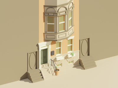 Low Poly Row Home rowhome blender3d blender lowpoly phldesign
