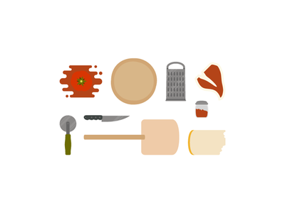 Fooddd   Carbs. Sauce. Cheese. Steak.  rebound vector food pizza kitchen things organized neatly