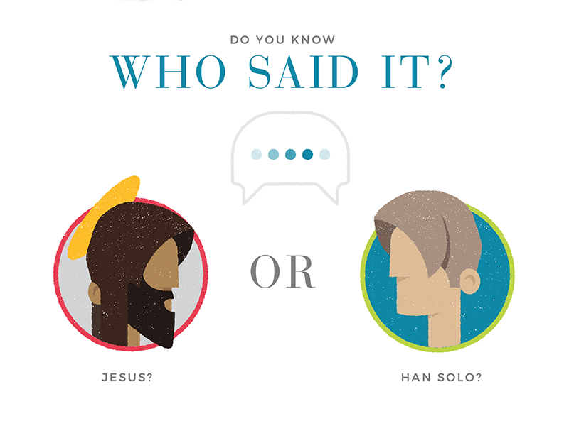 Who Said it...? star wars han solo infographic bible texture report state of the bible united states illustration church