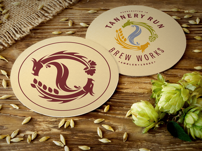 Tannery Run Brew Works dragon brewery branding logo phldesign