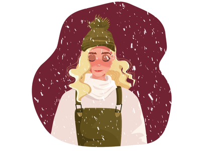 Winter Girl face rig particle snow motion graphic motion design motion rubber hose illustration 2d character duik character animation animation 2d animation gif