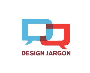 Design Jargon Logo graphic design jargon words dictionary speech bubbles logo red blue