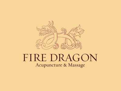 Fire Dragon Logo chinese acupuncture massage dragon fire tan brown