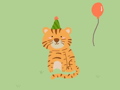 Birthday Tiger! tigers cumpleaños birthday tigre tiger ilustración illustration diseño design animals animales