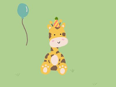 Birthday giraffe! giraffe jirafa cumpleaños birthday ilustración illustration diseño design animals animales