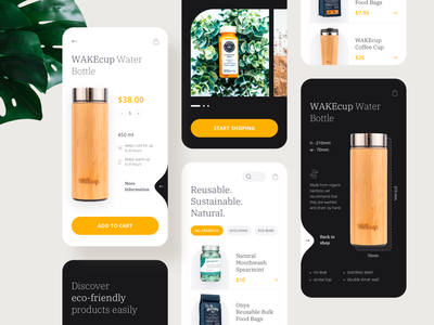 Mobile application - Eco-Friendly Retail Store product ecommerce app ecology typogaphy design minimal clean mobile application