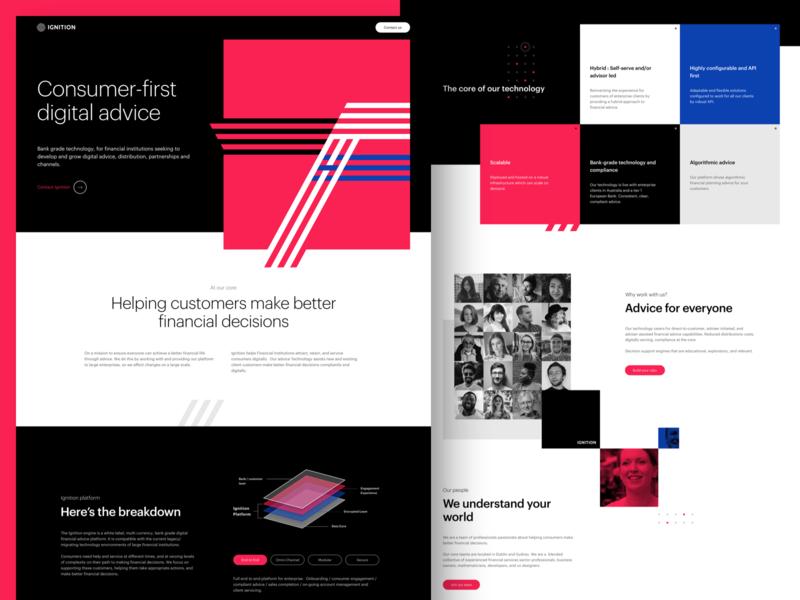 Ignition Website Concept website design web design webdesign fintech finance singlepage single page interface ui design user interface responsive ux website ui