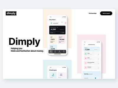 Dimply App Single Page Microsite minimal ux design ui design clean ui animation figma mobile application mobile app app design responsive motion gsap ux animation ui website
