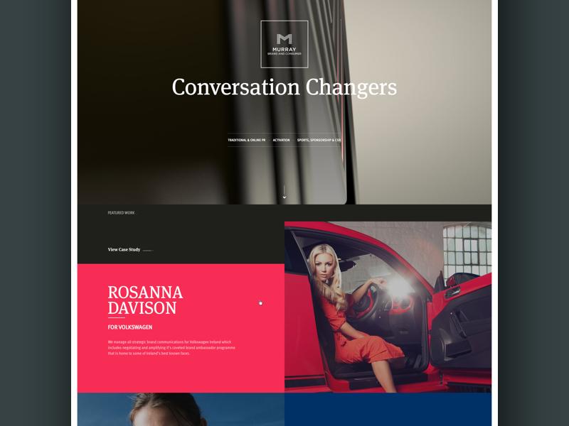 Murray Brand Website fullscreen colorful pr portfolio news agency responsive grid ui