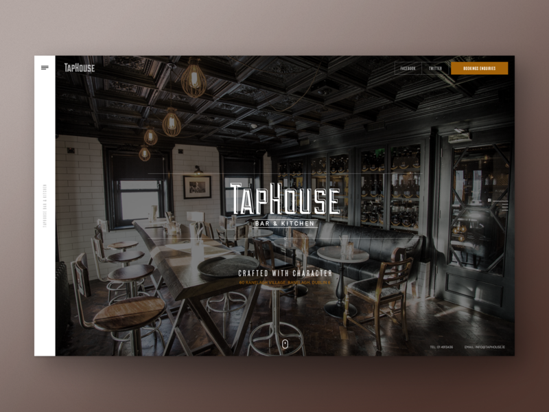 Taphouse Bar & Kitchen Concept video background fullpage design navigation interface web design ui design user interface ux ui website