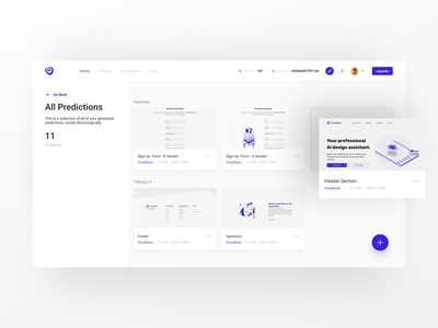 VisualEyes - Project page application minimal figma project webapp dashboard design dashboard app dashboard ui dashboard app uxui ux design uxdesign user interface uidesign ui design uiux ux design ui