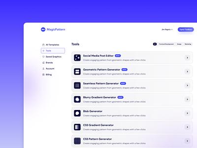 MagicPattern Tools branding dashboard app ui design uiux uidesign ux design ui