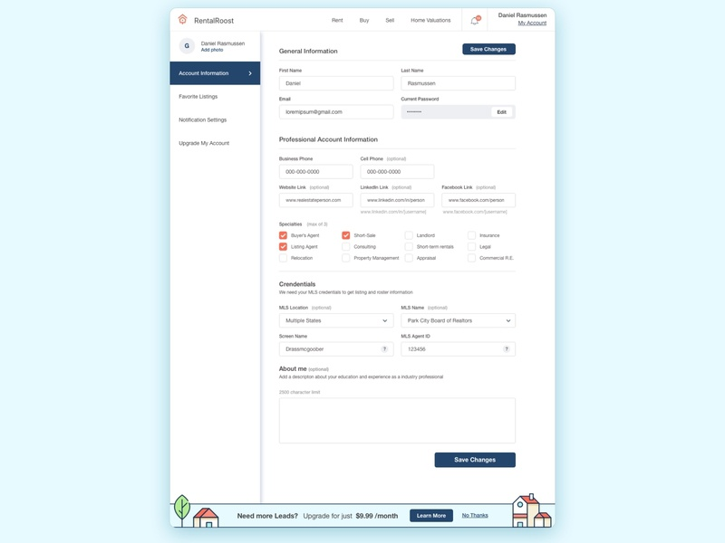 Real Estate My Account table real estate branding inputs account settings my account real estate agent realestate