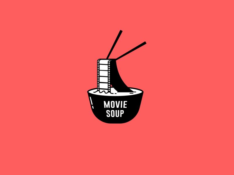 Movie Soup movie app movies branding illustration concept blackandwhite chopsticks soup ramen logo design logo