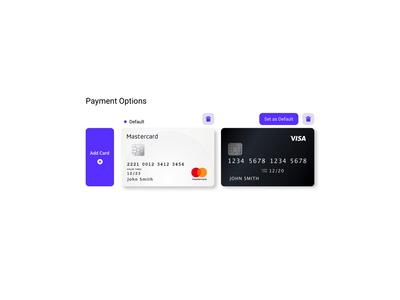 Default Payment Method ui verify purple add card payment method default verification cvc settings ui credit cards credit card payment