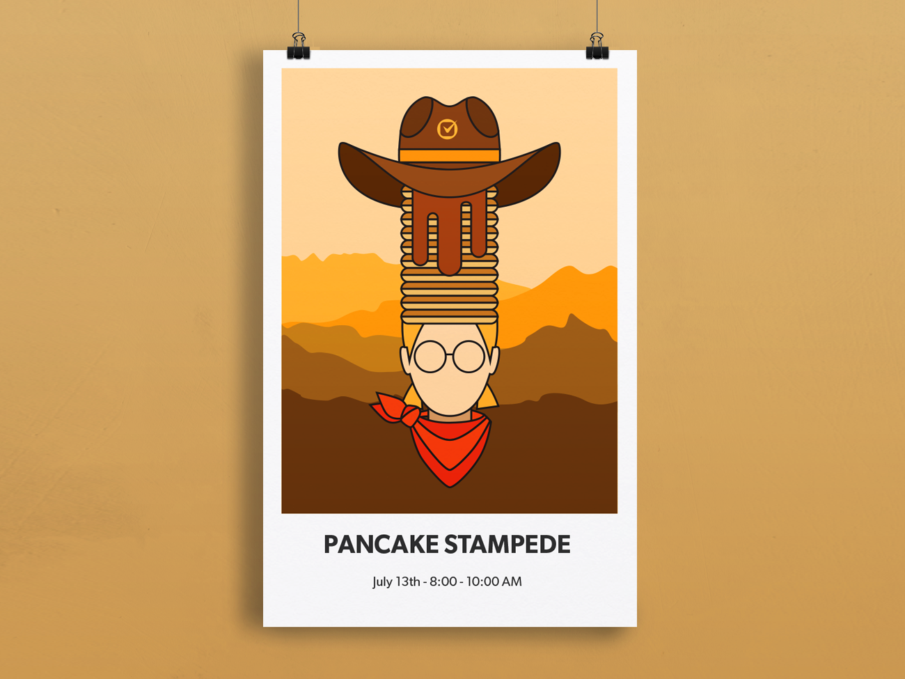 Pancake Stampede Poster in-house vector illustration poster art vector art poster illustration design graphic design