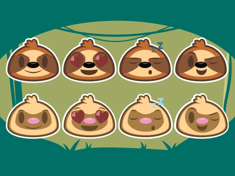 Sloth Emojis vector cute branding adobe illustrator illustration design icon cartoon sloths sloth emoji emoji sloth