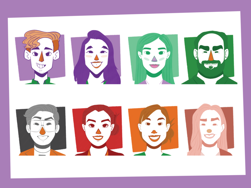 Team Portrait Icons procreate ipad department marketing team team caricature portrait icon cute design branding illustration cartoon