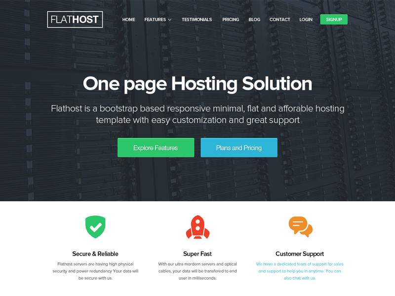 Flathost Hosting Template flathost hosting theme template flat design minimal free psd freebie