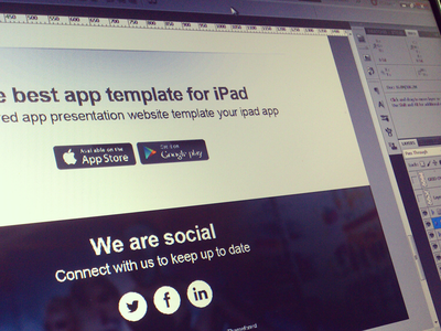 Ipad App Social Footer ipad app social footer twitter facebook linkedin icons app store google play
