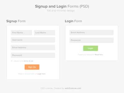 Signup and Login Page PSD signup login form psd free freebie free psd flat minimal