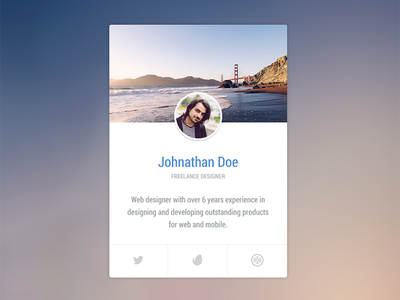 Profile Vcard - Codepen (HTML / CSS3) demo codepen css3 html flat clean neat popup vcard profile