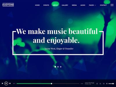 Music & Band Website Sneak Peek template website trendy modern music band audio live colors spotify duotone
