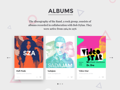 Duotone Music & Band Website — Albums live colors trendy spotify flat template website band music duotone