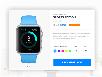 Product Pre-order Lightbox apple smart watch pre-order color popup lightbox cart product