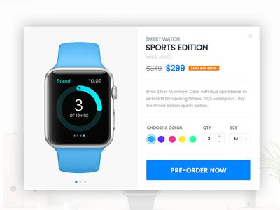 Product Pre-order Lightbox apple smart watch pre-order color popup lightbox cart product