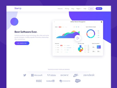 Startly Software Landing Page minimal clean purple modern vibrant app service template saas landing software startly