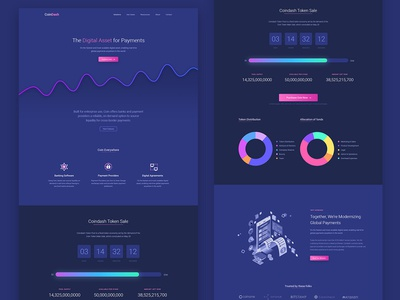 Cryptocurrency Software Saas Landing Page Template saas blue dark software token ico crypto currency app minimal illustration template