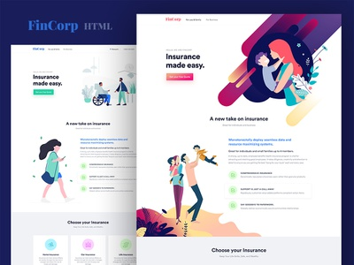 Fincorp Insurance, Finance & Marketing Landing Page Template themeforest premium marketing finance insurance fincorp minimal parallax freebie landing website landing page free download app illustration design html psd template