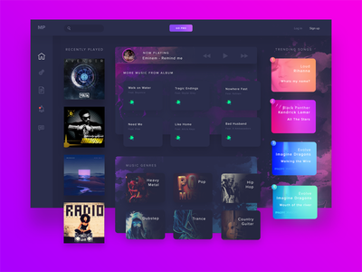 Music Player web user ui station radio player music material interface design dashboard application