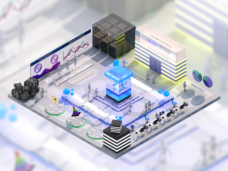 3D Isometric stardust blockchain servers city robots blue cinema4d illustration isometric ui